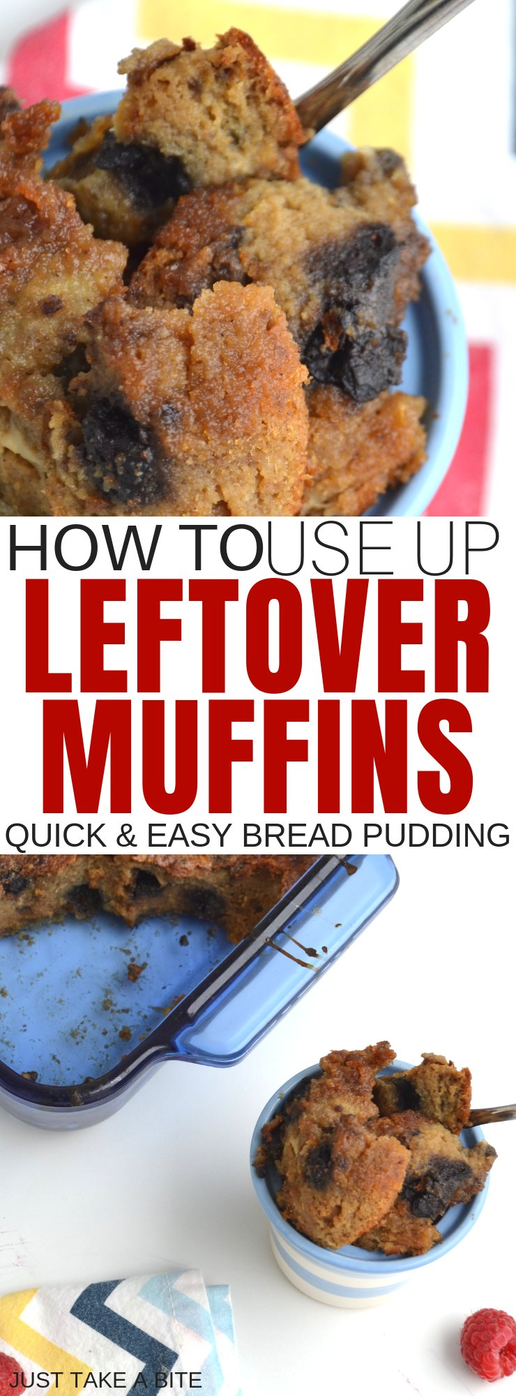 How to use up leftover muffins. Don't let those leftover muffins go to waste! Whether they are getting stale or are starting to crumble, muffins make amazing bread pudding. #leftovermuffins #simplefood #glutenfree #breadpudding