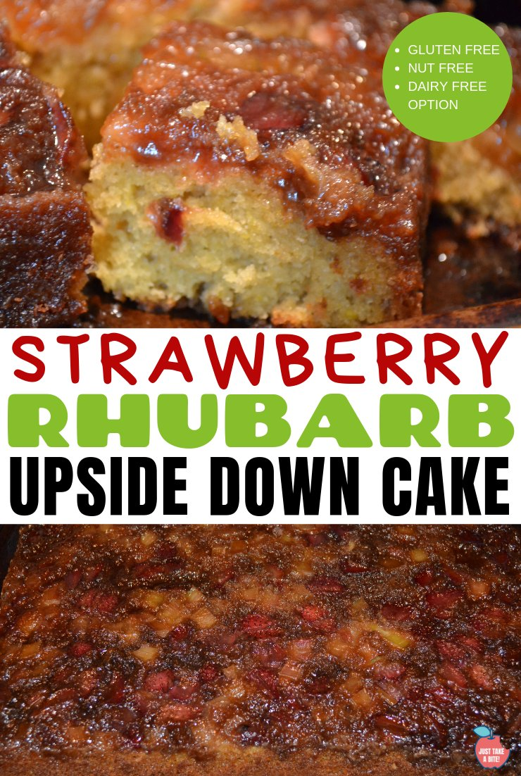 The perfect early summer treat - combine sweet strawberries and tart rhubarb in this easy gluten-free strawberry rhubarb upside down cake!