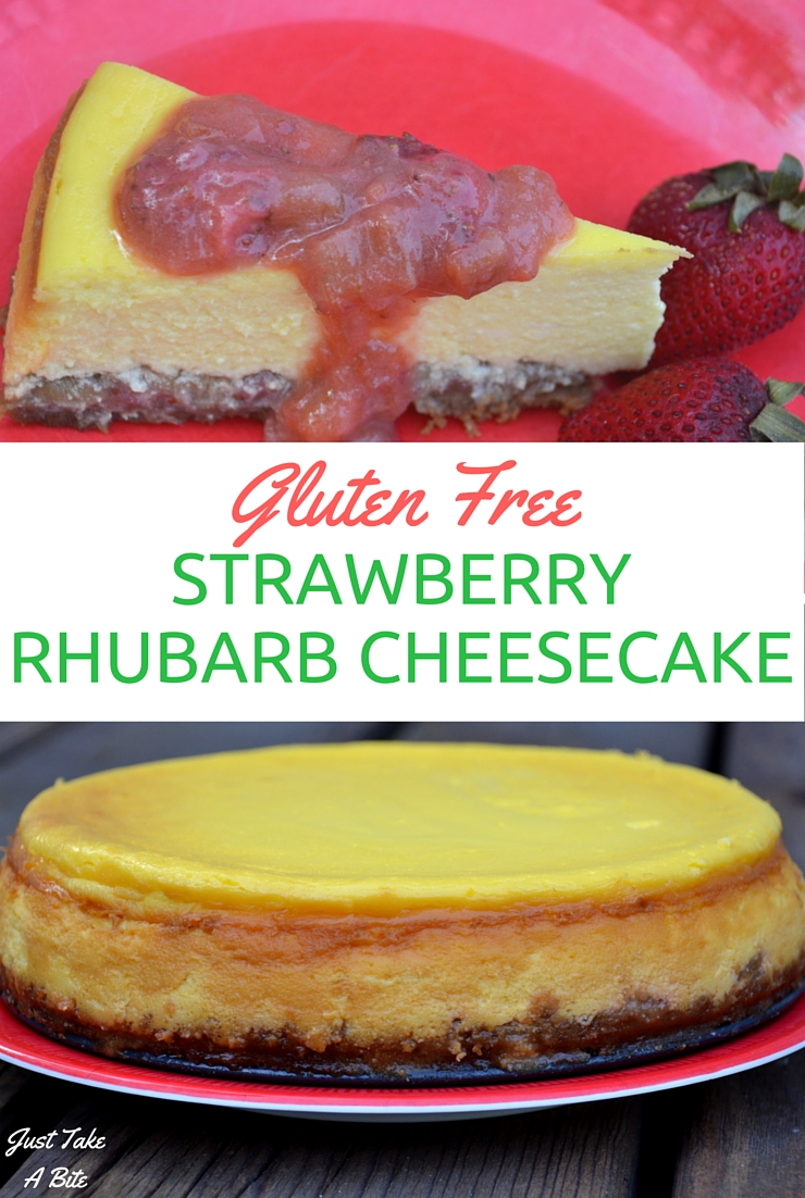 This Gluten Free strawberry rhubarb cheesecake is perfect for any summer celebration.