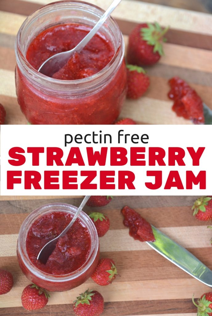 This pectin free strawberry freezer jam is the easiest and most delicious jam you'll ever make. No pectin. Just simple, nutritious ingredients. It's a family favorite on toast, pancakes, waffles and oatmeal.