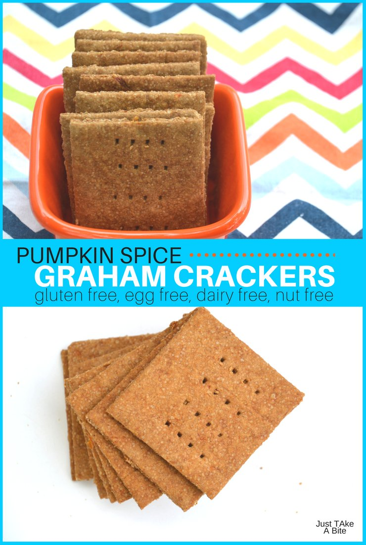 Pumpkin spice graham crackers are easy to make, allergen friendly and capture the warm flavors of pumpkin pie. They make a perfect after school snack or lunch box addition. #glutenfreefood #pumpkinspice