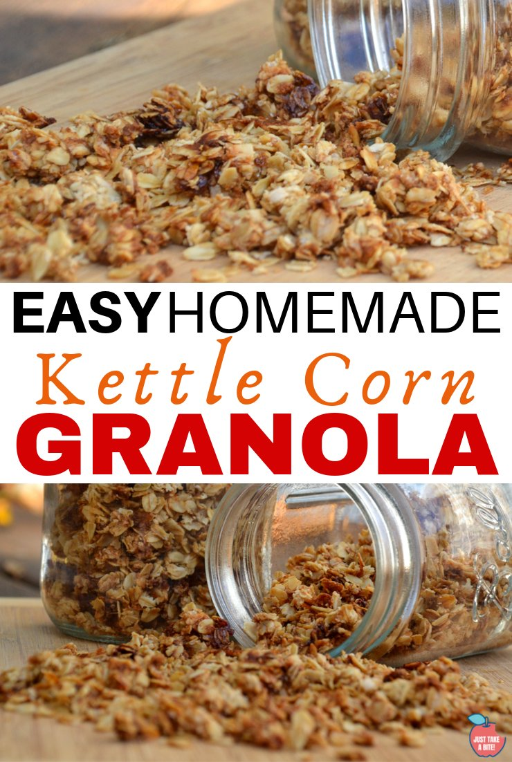 Kettle corn granola is a little salty and little sweet. You get the flavor of kettle corn in your breakfast bowl!