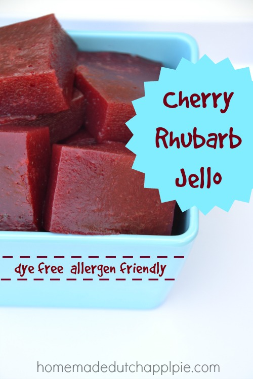 Cherry rhubarb jello is a dye-free, allergy-friendly treat that all kids love. The perfect finger food.