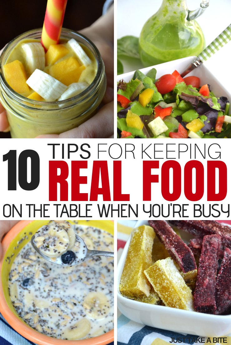 Don't let a busy life keep you from eating real food! Here are 10 tips for keeping real food on the table when school starts. #realfood #naturalhealth