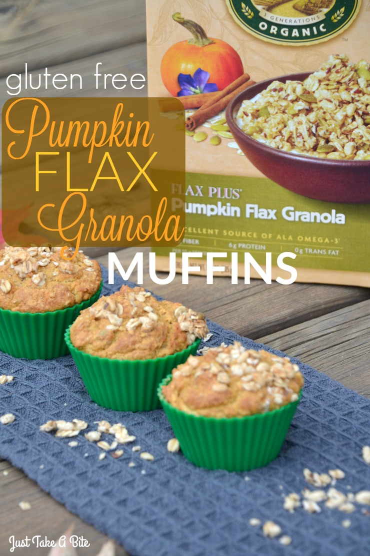 Gluten Free Pumpkin Flax Granola Muffins | Just Take A Bite | A gluten and egg free muffin packed with pumpkin and flax seeds plus granola for extra crunch