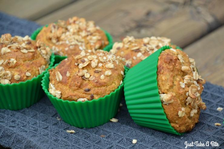 Gluten Free Pumpkin Flax Granola Muffins | Just Take A Bite