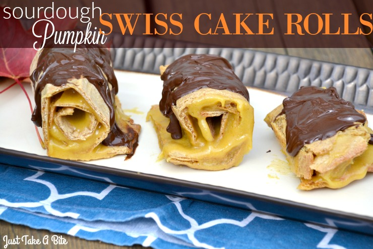 Sourdough Pumpkin Swiss Cake Rolls | Just Take A Bite