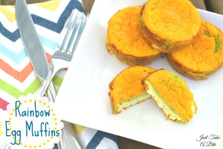 Rainbow Egg Muffins | Just Take A Bite