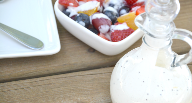 No more boring fruit. This simple creamy orange poppy seed salad dressing transforms any combination of fruit into a special side dish.