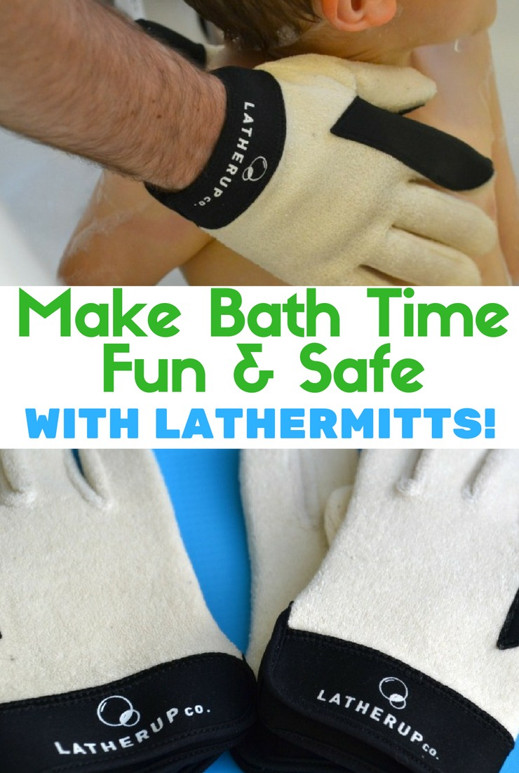Want to make bath time both fun and safe? Try LatherMitts! Hold your baby tight and wash him with one product.