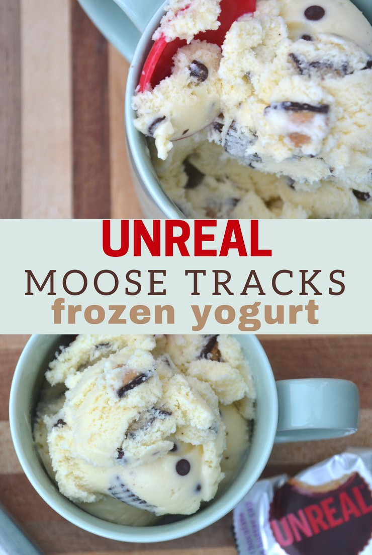 In search of a sweet treat without any food dyes or chemicals? This Unreal Moose Tracks Frozen Yogurt will blow you away!!