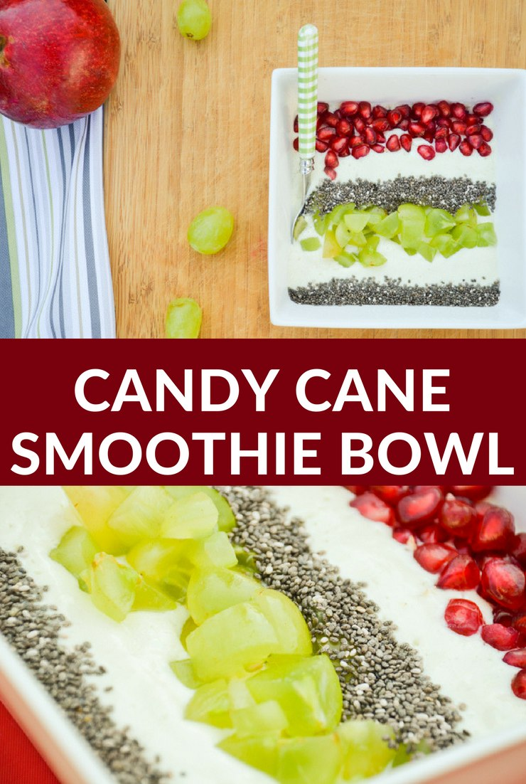 Enjoy your holidays AND serve a healthy breakfast with this nutritious candy cane smoothie bowl. It's so easy to make your kids can do it!