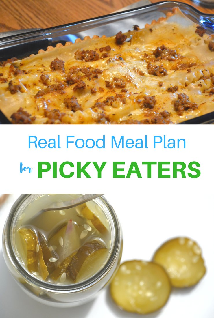 This week's real food meal plan for picky eaters includes waffles, salmon cakes and brats. I predict my kids will clear their plates!