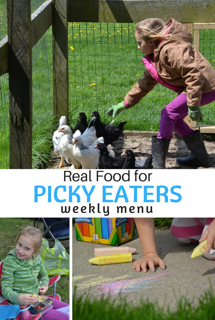 This week's real food meal plan for picky eaters includes salmon cakes, guacamole and waffles. What could be better?! Life is getting busy on the farm so it's easy, nourishing meals all week long.