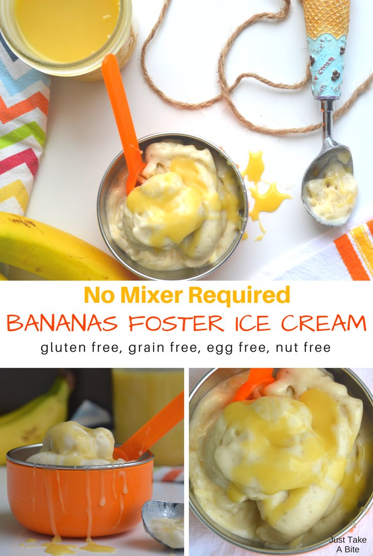 Ready to think summer? This no mixer required bananas foster ice cream is sure to help! So easy to make and free of grains, eggs and nuts.