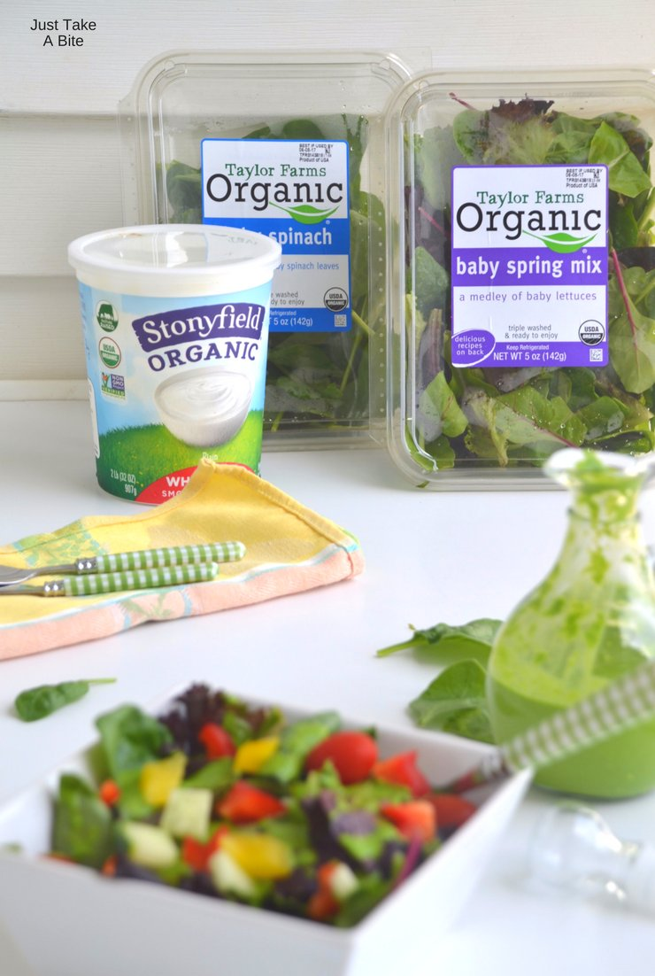 Ready to dress up your summer salad? In less than five minutes this creamy spinach pesto salad dressing goes from the blender to your bowl!
