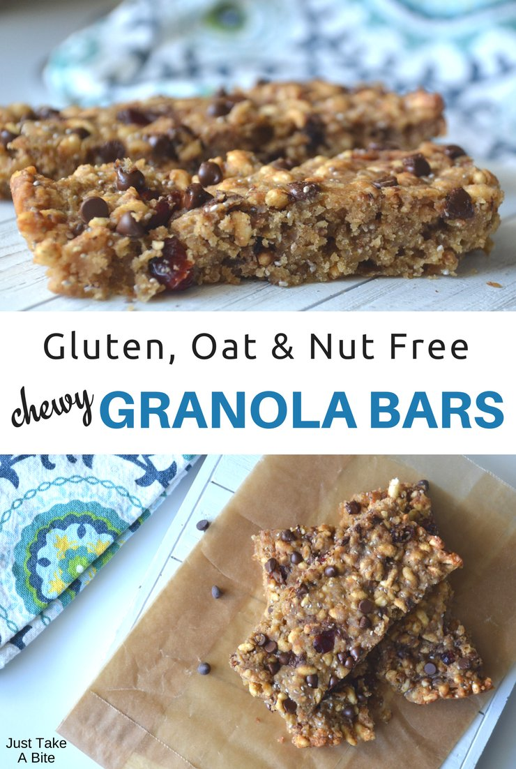 Missing your beloved granola bars because you can't have oats? Problem solved! These oat and nut free chewy granola bars have the taste and texture of oats. You'll never miss them!!