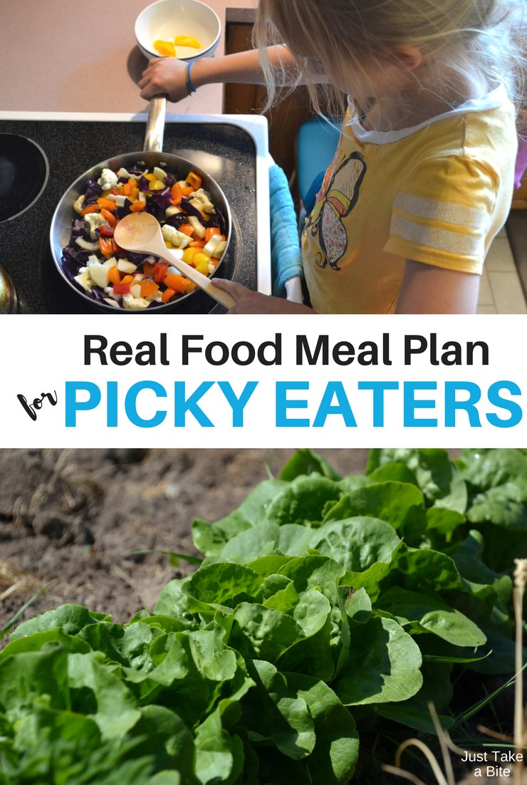 This week's real food meal plan for picky eaters includes lots of zucchini, cabbage and beans! The garden is overflowing.