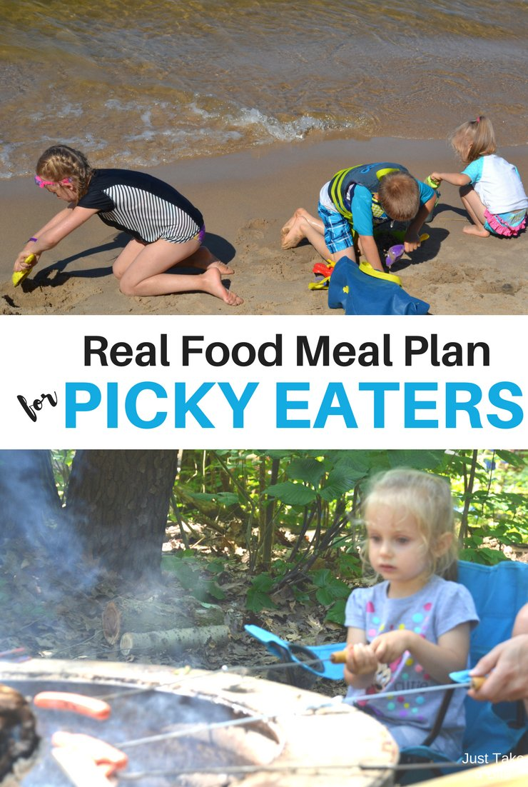 This week's real food meal plan for picky eaters includes piles of fresh produce. We've got beans, zucchini, cauliflower, cabbage, broccoli and more! I'm thankful my kids love their veggies.