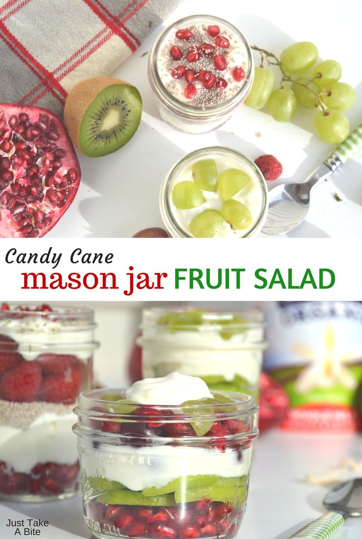 Looking for that perfect Christmas breakfast or dessert? This adorable and easy candy cane mason jar fruit salad is great for both kids and adults!