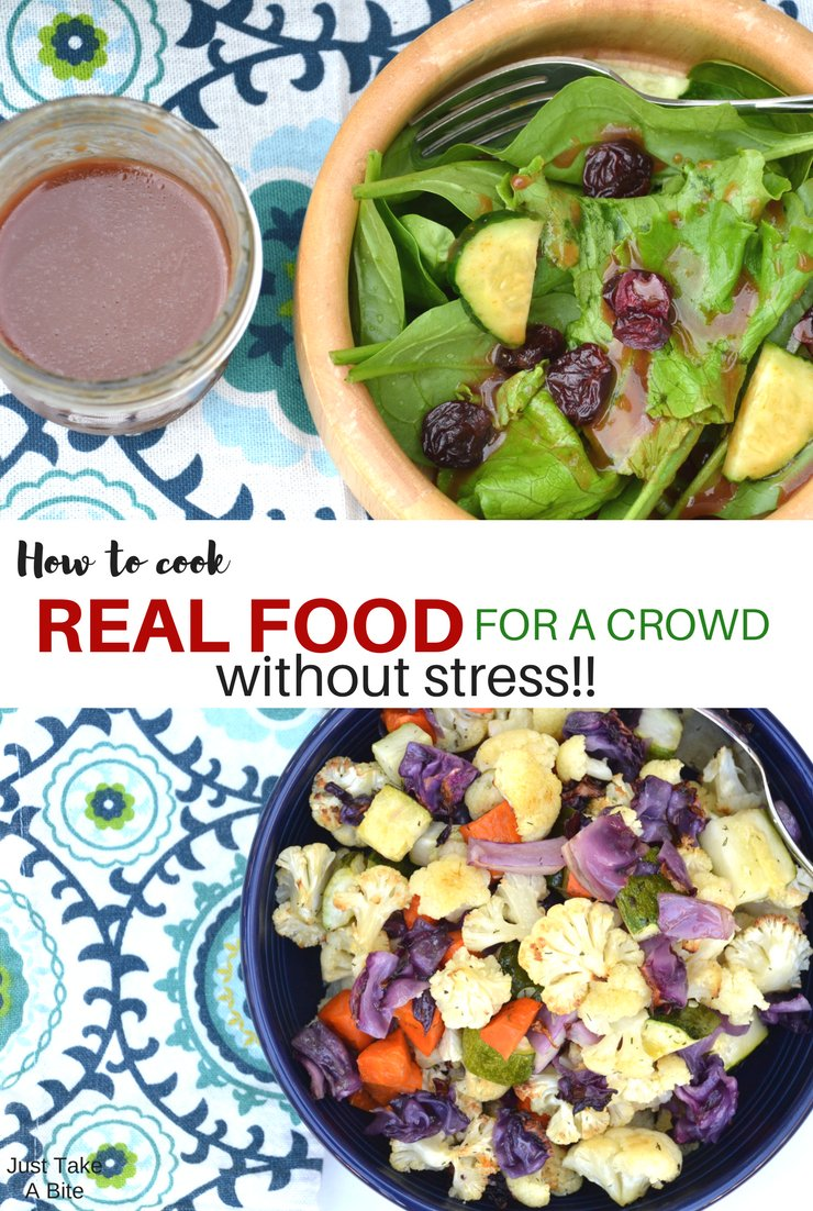 Don't let the stress of the holidays alter your real food plans. Here are my simple tips to cook real food for a crowd without any stress!
