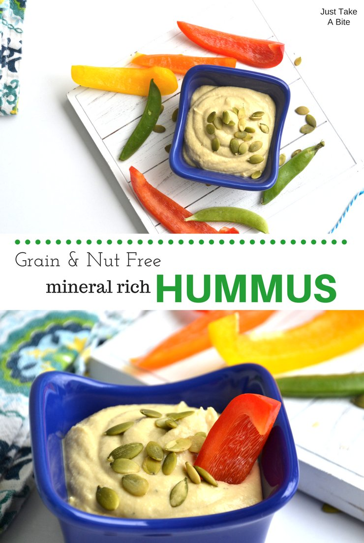 Grain and nut free mineral rich hummus makes the perfect snack or lunch box addition. This is will soon become a kid favorite for dipping veggies!