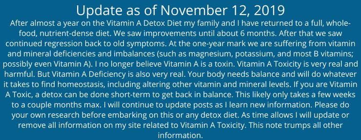 VAD Diet update
