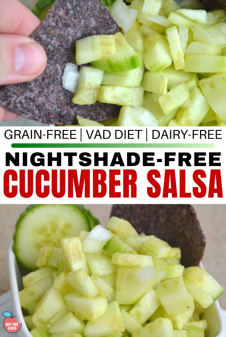 Missing tacos due to dietary restrictions? Bring back taco night with this simple night-shade free cucumber salsa. Free of allergens and nightshades, and low in Vitamin A, it's sure to be a hit!
